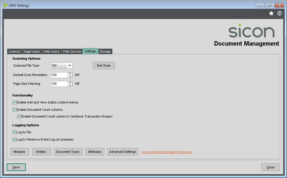 DMS Settings - Document count columns